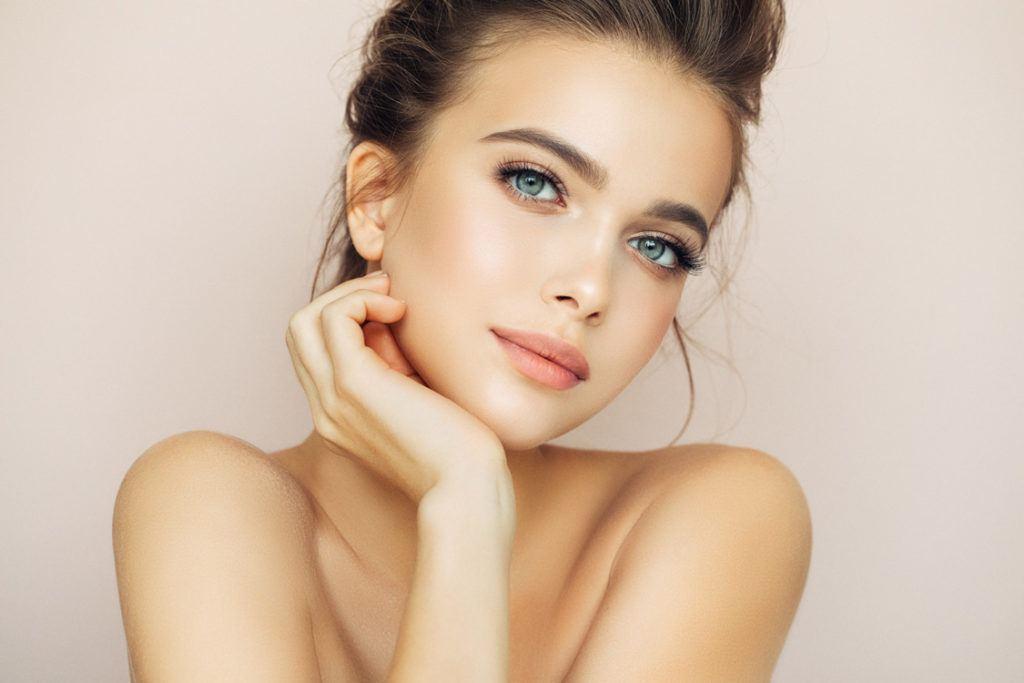 beautiful caucasian model with plastic surgery